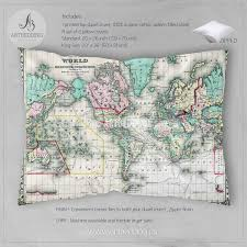 Vintage Map Antique World Map 1870 Bedding Vintage Old Map Duvet Cover