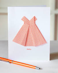 make an origami dress card how about orange