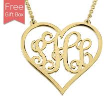 Gold Plated Monogram Necklace Gold Plated Heart Monogram Necklace Rsnamenecklace