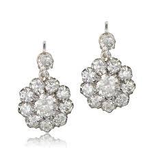diamond cluster earrings estate cluster diamond earrings total 3 20 carats