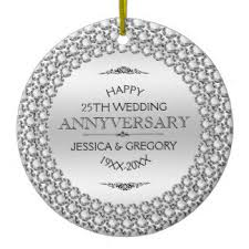 25th wedding anniversary christmas ornament happy silver wedding anniversary gifts on zazzle