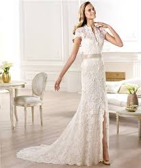 wedding dress high neck a line high neck cap sleeve lace wedding dress with slit sash bow