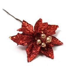 christmas picks glitter poinsettia christmas picks 3 pack hobbycraft
