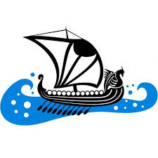 viking boat on rough sea vector free download