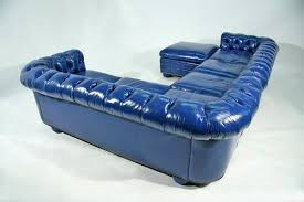 Blue Leather Sofa by Bright Blue Leather Chesterfield Sectional Sofa Couch U0026 Sofa