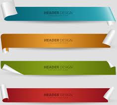 design header paper header design sets with 3d curled sheet background free vector in