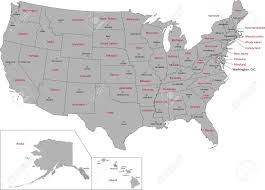 Alaska Map Cities gray usa map with states and capital cities royalty free cliparts