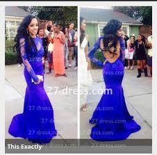 lace mermaid long sleeves prom dresses 2016 royal blue open back