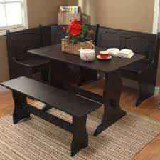 black kitchen dining room wood corner breakfast nook table u0026 bench