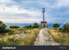 Radio Base Station Equipment For Gsm Gsm Transceiver Tower Near Sea Base Stock Photo 218489749