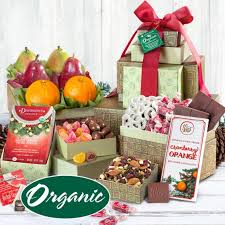 organic fruit gift baskets organic fruit and treats tower rt1001h a gift inside