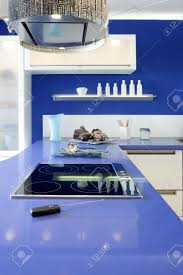blue white kitchen modern interior design house architecture stock