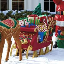 wooden santa sleigh lawn decoration outdoor drone fly tours