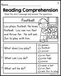 kindergarten reading passage free printable reading comprehension worksheets for kindergarten
