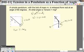 dh 11 tension in a pendulum as a function of angle you