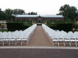 St Louis Botanical Garden Wedding Chair Set Up For A Wedding Ceremony At The Gladney Garden At