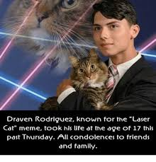 Laser Meme - draven rodriguez known for the laser cat meme took his life at the