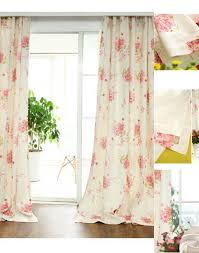 Retro Floral Curtains Collection In Vintage Floral Curtains And Linencotton Pink Print