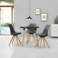essgruppe küche en casa esstisch rund schwarz ø80cm mit 3 s real