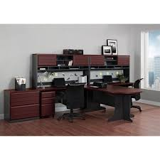 u shaped office set in cherry and gray 9347096