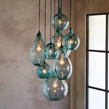 custom blown glass pendant lights salon glass pendant canopy limpid turquoise drops of hand blown