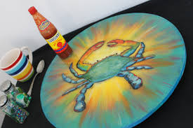 Umbrella Lazy Susan Turntable by Lazy Susan Blue Crab Art Hand Painted Blue Crab Turntable