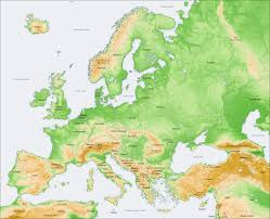 Topographic Map Of Usa by Topographical Map Of Europe With Present Day Borders Description