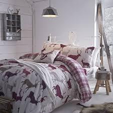 Duvet Covers Uk Cheap Winter Flannelette Grampian Stag Mulberry Warm Bed Linen Cheap Uk