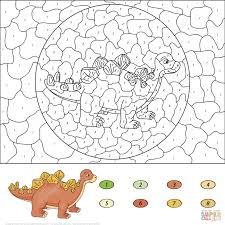dinosaurs color number coloring pages printable pictures