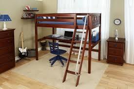 wooden full size loft bed with desk underneath u2014 modern storage