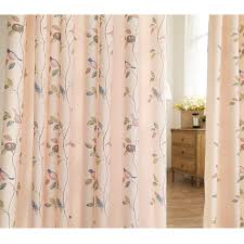 Asian Curtains Asian Style Pink Polyester Bird Leaf Nursery Curtains