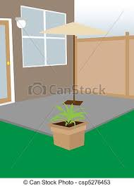 Backyard Clip Art Vectors Of Residential Backyard Enclosed Court Angled Enclosed