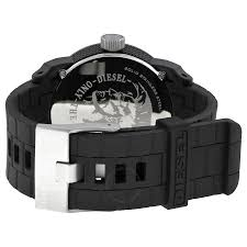 diesel color domination black dial black silicone unisex watch