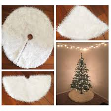 80cm snow plush tree skirt base floor mat cover