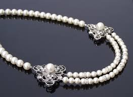 wedding necklace pearls images Vintage style pearl necklace swarovski pearls rhinestones eve jpg