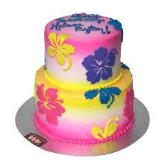 Tropical Themed Cake - 2135 2 tier tropical flower cake abc cake shop u0026 bakery