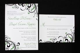 design invitations green and black two tone swirl wedding invitations emdotzee designs