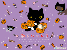 kawaii halloween wallpaper with kutusita nyanko from san x