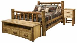 glacier country log bedroom set montana woodworks amish