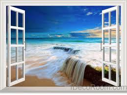 beach tide ocean cloud blue sky 3d window view wall decals wall