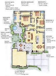 first floor plan of florida mediterranean southwest house plan