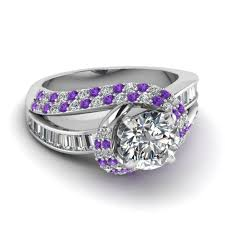 white gold and purple wedding artistic purple engagement rings at reasonable price in