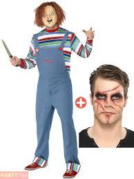 chucky costume mens chucky costume malke up kit fancy dress 80s