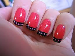 white french tip nail art with black flowers design if youre a