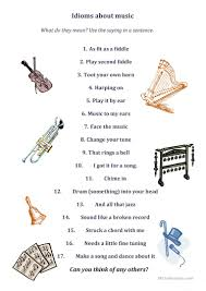7 free esl music idioms worksheets