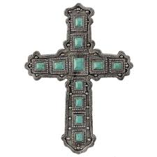 decorative crosses home decor silver and turquoise wall cross wh114 wall décor home décor
