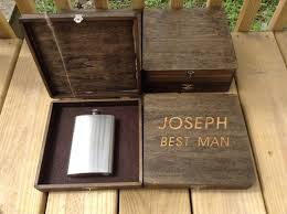 wooden groomsmen gifts groomsmen gift set of 6 engraved cigar box and liquor flask gift