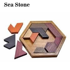 wood geometric children puzzles wooden toys tangram jigsaw board wood