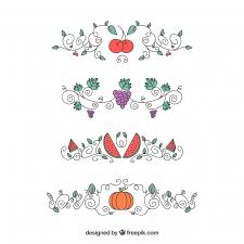 pack of ornaments with fruits and vegetables vector