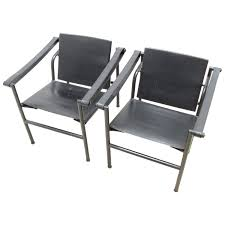Waiting Area Bench Pair Of Black Le Corbusier Lc1 Style Chairs At 1stdibs